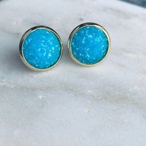 Matte Druzy Earring Gold Turquoise Stone Stud Post